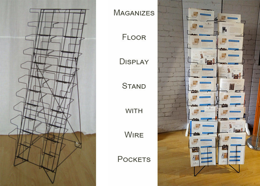 20 Pockets Folded Wire Pocket Display Floor Stand